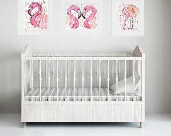 Flamingo Print Set - Flamingo Art - Pink Flamingo Art Print - Pink Flamingo Painting - Abstract Flamingo Painting - Bird - Girls Nursery Art