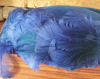 Royal Blue Peachbloom Velour Vintage Feathered Pillbox Ladies Hat 1940s D083