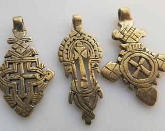 SALE - 3 Brass/gold color Ethiopian Coptic Cross, cross pendant, Ethiopian jewelry, African pendant