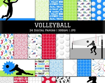 Digital Scrapbook Papers-Volleyball Papers-Volleyball Background-Volley Clipart-Shilouette-Net-Sports Backgrounds-Instant Download Clip Art