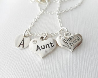 Aunt, Best Friend -Initial Necklace/ Aunt jewelry, Aunts, gift from niece, Aunt necklace, personalized jewelry, friend necklace