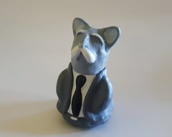 Old Tom Cat with Whiskers Mustache Cute Funny Clay Statue Sculpture Black and White Gray Acrylic Mixed Media