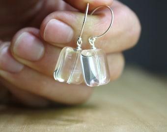 Rock Crystal Earrings Dangle . Clear Crystal Earrings Sterling . Healing Crystal Earrings . Crystal Quartz Earrings NEW