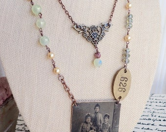 Vintage Tintype Photo Necklace Assemblage