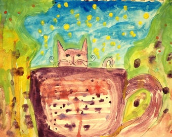 Whimsical cat in a teacup painting PRINT