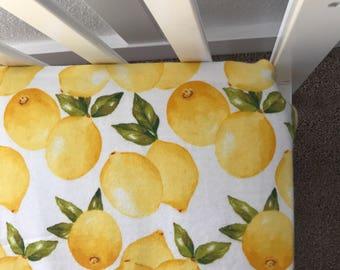 Soft flannel lemon crib sheet