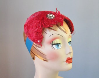 Jeweled Headband / Vtg 50s / Red Velvet Jeweled Headband