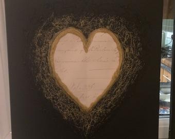 Hand Crafted Decorative Gold/Black/Cream Heart Canvas 50cm x 40cm
