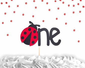 1 pc one lady bug red Glitter Cake Topper for first Birthday spring summer garden Party theme cake smash