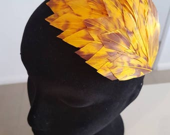 Golden yellow and deep purple feather pad / fascinator / headpiece / hairslide / haircomb, ideal for a wedding or the races