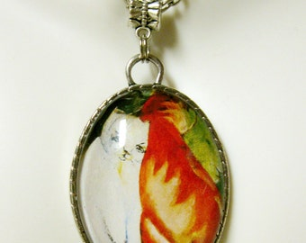White and orange cats pendant with chain - CAP09-051