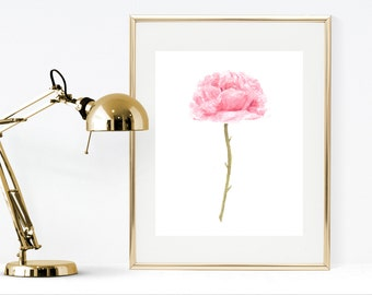 Rose watercolor art print printable watercolor rose painting  pink rose painting shabby chic decor  pink home decor, rose wall art