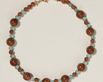 Sandstone and Apatite Bracelet