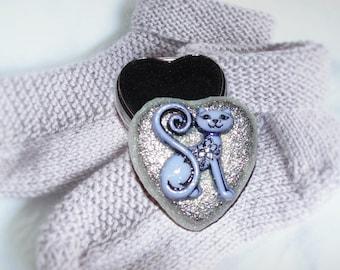 "Custom Lid ELEGANT CAT Little Silver Color Heart Trinket/Pill/Jewelry Keepsake Box 1-1/2""x1-1/2"""