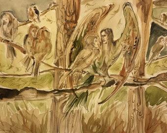 Soulmate Original Painting Bird Spirits Otherworldly Fantasy Beings Romantic Sweet Kami Chickadee Sparrow Robin Hawk Raven Finch Owl Artwork