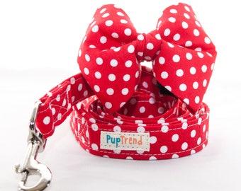 Red Polka Dot Designer Dog Leash//Red Polka Dot Bow Tie//Red Polka Dot Designer Dog Lead//Christmas Dog Leash//Christmas Bow Tie//Bowtie