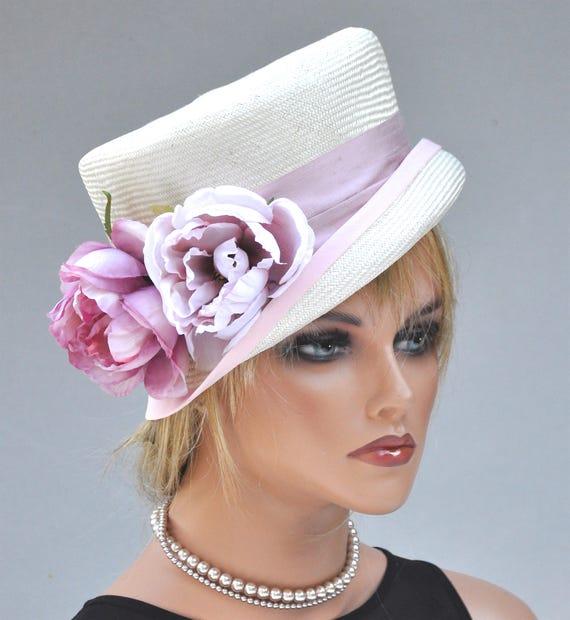 Wedding Hat, Ladies Pink Hat, Formal Hat, Pink and White Hat, Floral Hat
