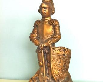 Universal Statuary Corp Gold Knight Statue/Knight Sculpture/Knight in Shining Armor/Universal Statuary Knight Statue/Vintage Knight Statue