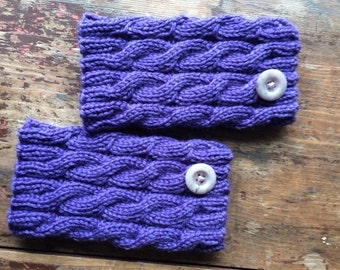 BOOT CUFFS purple, boot socks, boot toppers, leg warmers, accessories women, hand knit, cable knit, winter accessories