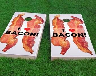 "I <3 ""Love"" Bacon Themed Light Weight (1x4) Regulation Size Custom Cornhole Board Game Set - Corn Hole - Bag Toss"