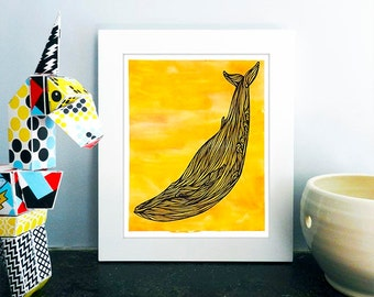 Yellow Whale Art Print, Watercolor Illustration Nursery Decor, Sunny Wall Poster, Nautical Drawing, 8x10