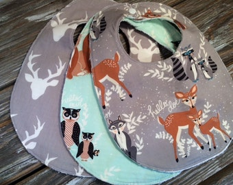 Bibs ~ You Choose 1 or All 3! ~ Nature//Deer//Birds//Woodsy//Natural//Bear//Woodland//Buck