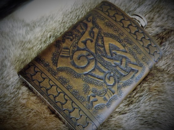 Viking Leather Flask - Fenrir Freki Geri Wold Design - 8 oz Flask