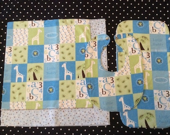 Baby Boy Receiving Blanket Set, Giraffe, letters, numbers, frogs, polka dots quilt look flannel blanket,burp cloth and bib set.