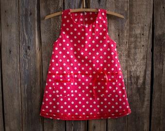 Polka Dots Cotton Dress, Flower Girl, Summer Dress, Rustic Wedding, Red Polka Dots , Round Neck, Country Dress, Handmade