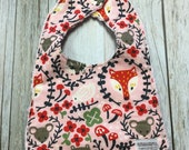 Baby Girl Bib in Woodland Creatures Fabric - Baby Showe...
