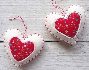Set of 2 Heart Ornaments, Felt Christmas Ornaments, Felt Hearts, Christmas Decor, Handmade Ornaments, Scandinavian Christmas Ornaments