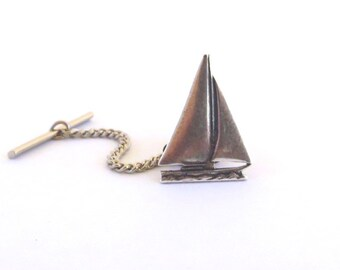Small Sailboat Tie Tack Sterling Silver Ox Finish Small Sailboat
