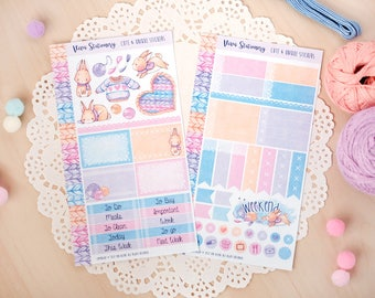 All you knit is love...  ~ Personal Size Planner Decorative Sticker Kit, two sheets ~ For your Diary, Journal, Kikki K, Kate Spade, Midori..