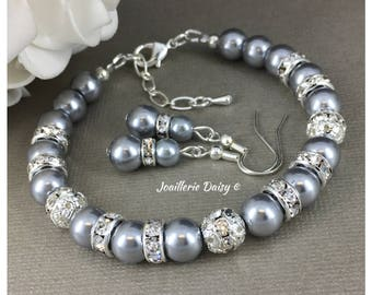 Grey Pearl Bracelet Bridesmaid Gift Gray Bracelet Bridesmaid Bracelet Maid of Honor Gift  Bridal Party Jewelry Gift for Her