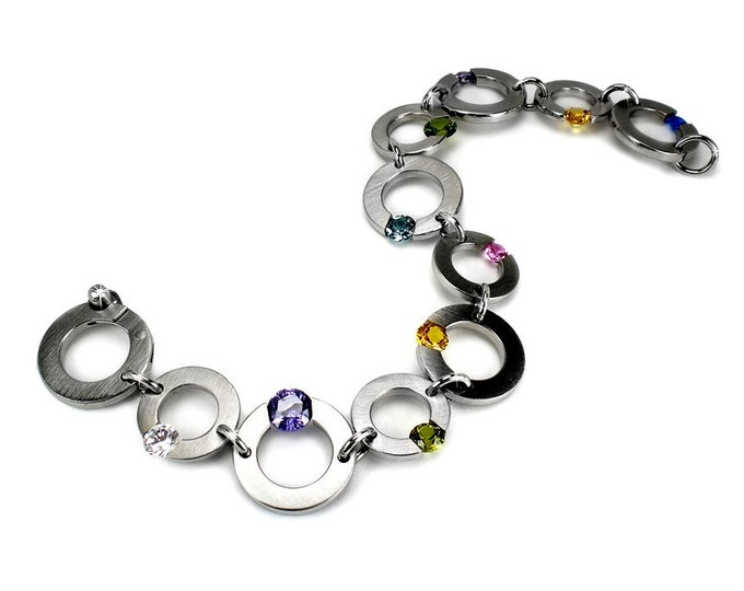 Multicolor Gemstone Bracelet Stainless Steel Tension Set