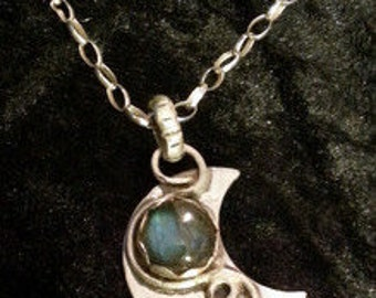Crescent Moon Sterling Silver Pendant
