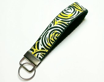 Key Fob - Key Lanyard - Wristlet Lanyard - Fabric Keychains - Wristlet Lanyard -- Black Yellow -- READY TO SHIP