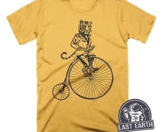 Tiger on a Bike Shirt Funny Tshirts Vintage T Shirt Penny Farthing Mens Tshirt Womens Graphic Tees Daniel Tiger Birthday Shirt Kids Tshirt