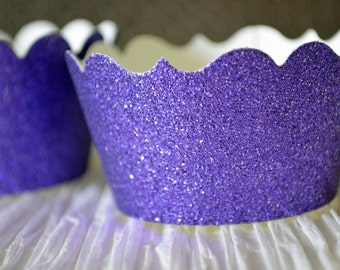Glitter cupcake wrappers - plum purple - Choose your cut (scallop or fancy) - Set of 12