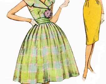 Simplicity 2971 Sewing Pattern Vintage 1950s Womens' Full Dress With Rockability And Wiggle/Sheath Dress