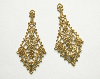 6 pcs., Raw Brass Filigree, Earring Dangle, Brass Pendant, Brass Stamping 26mm x 55mm - (r128)