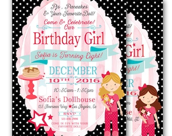 Doll Sleepover Birthday Invitation Pj's and Pancakes Doll Party 5x7 Printable Girly Doll Party Girl Doll Birthday Girl Doll Slumber Party