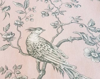 Toile Botanic with birds in old pink 100% cotton and 280 cm wide