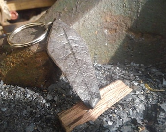 Large Hand Forged Leaf Keychain