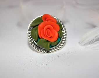 Orange rose flower with leafs / handmade polymer clay