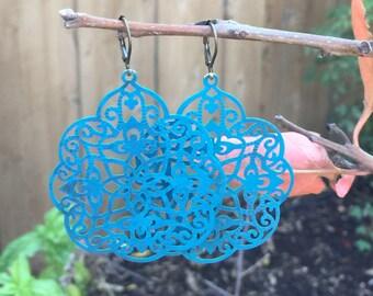 Deep Turquoise Patina India Style Filigree Dangle Earrings  Bohemian  Jewelry shabby chic  light weiight statement earrings