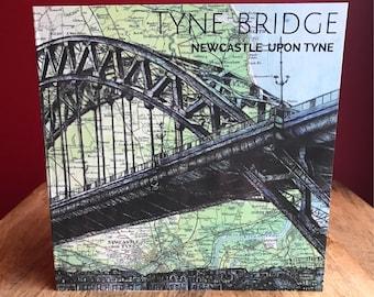 Tyne Bridge, Newcastle greeting/ birthday card. Pen drawing over map of North East England. Blank inside