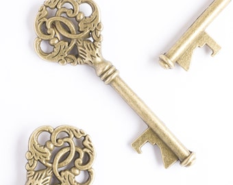 50 Vintage Key Bottle Openers, Victorian Key Wedding Decorations, Party Favors, Antique Gold Keys, Victorian Steampunk Decor, Rustic Leaf