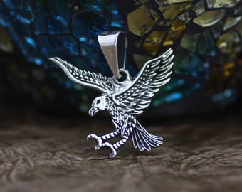 Sterling silver Eagle Necklace, Mens Necklace, Silver Oxidized Eagle Pendent, American Eagle Necklace, Silver Eagle Pendant, Animal Jewelry