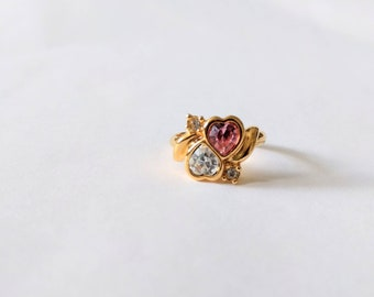 Vintage 90s Avon ring Two Hearts rhinestones pink white gold tone 1994 Valentines Day jewelry size 6